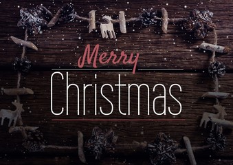 merry Christmas text on snow background