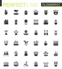 Black classic House plants and flowers in Flowerpots icons set.