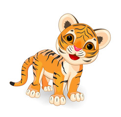 Cute  tiger.Cartoon little tiger cub on a white background.