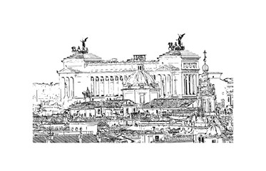 Hand drawn sketch of Alter Della Patria (altar of the Fatherland) in vector illustration.