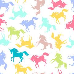 Realistic unicorn silhouette seamless pattern. Vector.