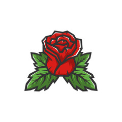 Rose with leaves vector illustration. Logo Concept