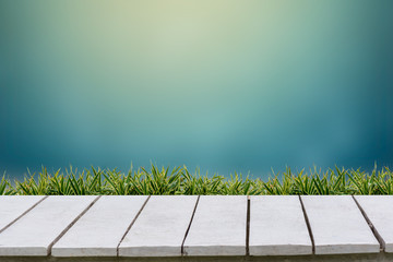 Wall Mural - Blue background and grass on a white wood floor.