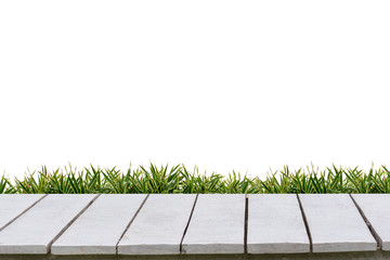 Wall Mural - White background and grass on a white wood floor.
