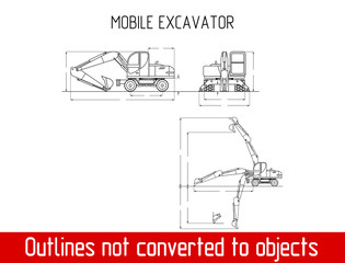 typical mobile excavator overall dimensions outline blueprint template