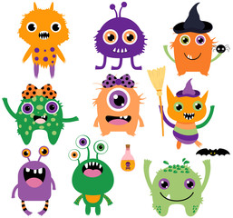 Cute, funny and silly vector monsters for Halloween in purple, green and orange colors