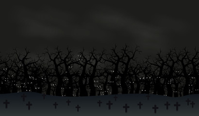 Seamless halloween poster background. Foggy landscape of graveyard with scary bats eyes in dark forest. Vector illustration.