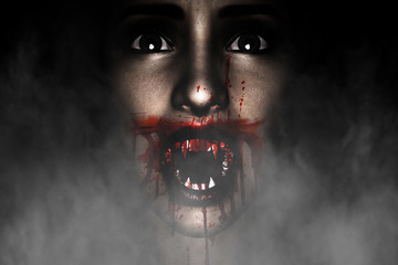 3d illustration of Vampire woman,Halloween concept and ideas background