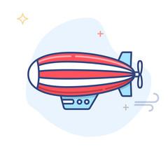 Zeppelin / Blimp Line Illustration