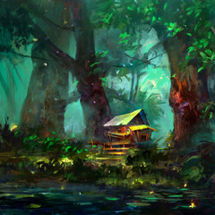 color drawing of a cartoon house in the forest near the lake