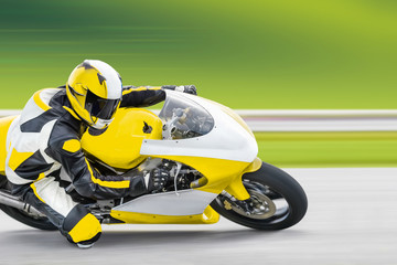 Poster Motorise Motorcycle practice leaning into a fast corner on track