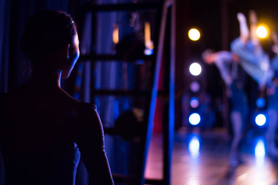 Asian ballet dancer at backstage in the theater. Recital.