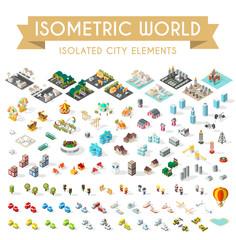 Set of Isometric High Quality City Elements on White Background