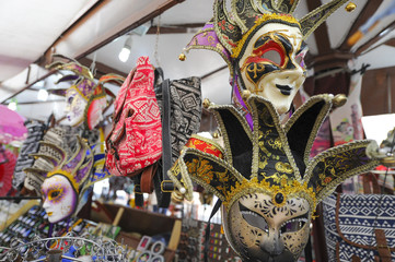Masquerade costumes and masks in the bazaar in Verona, Italy