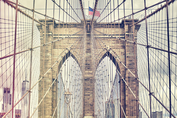 Vintage filtered picture of Brooklyn Bridge, one of New York City symbols, USA.