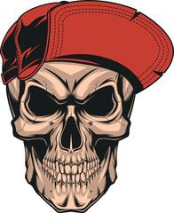 Skull in a red cap.