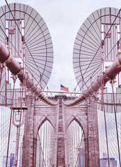 Vintage toned picture of Brooklyn Bridge, one of New York City symbols, USA.