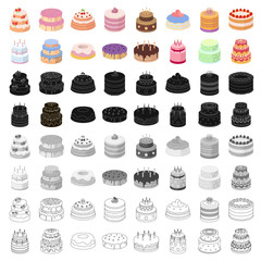 Cakes set icons in cartoon style. Big collection of cakes vector symbol stock illustration