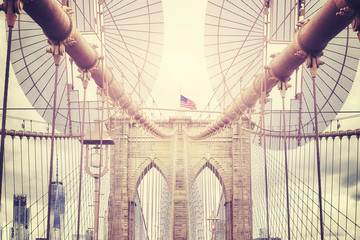 Vintage toned picture of Brooklyn Bridge, NYC.