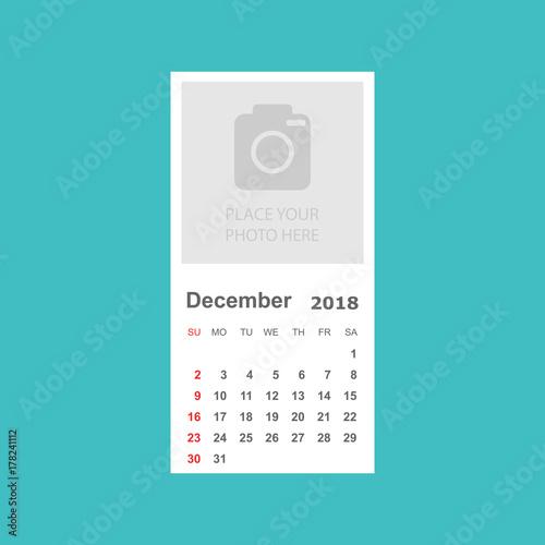 december 2018 calendar calendar planner design template with place