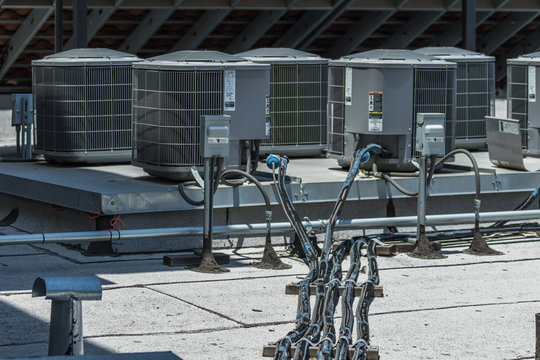 Air conditioning units on top of modern building