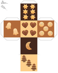 Christmas cookie dice template of a cube with cookies and gingerbread instead of dice eyes - isolated vector illustration over white.