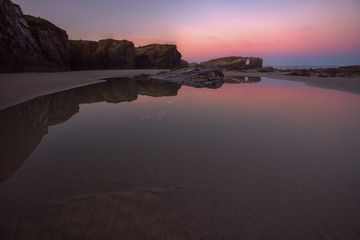 Low tide sunrise at As Catedrais beach