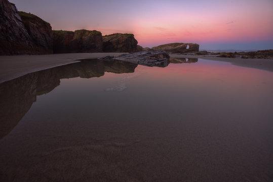 Low tide sunrise at As Catedrais beach