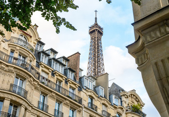 The top of the Eiffel Tower seen from down the street with foliage and typical residential buildings in the foreground. Wall mural