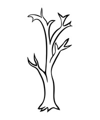 Bare tree cartoon outline vector design isolated on white background
