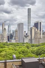 New York City skyline with stormy clouds, USA