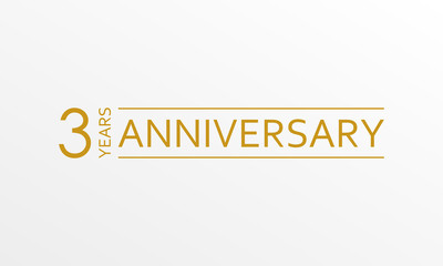 3 year anniversary emblem. Anniversary icon or label. 3 year celebration and congratulation design element. Vector illustration.