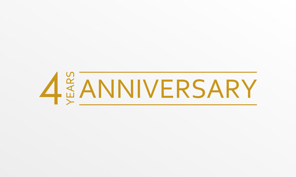 4 year anniversary emblem. Anniversary icon or label. 4 year celebration and congratulation design element. Vector illustration.