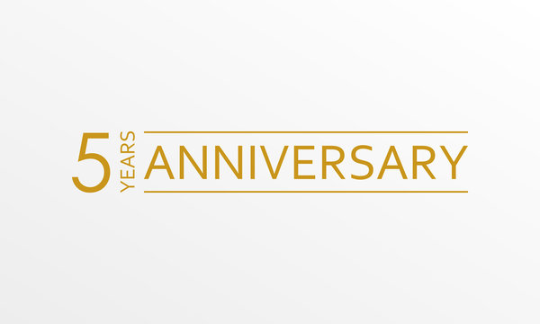 5 year anniversary emblem. Anniversary icon or label. 5 year celebration and congratulation design element. Vector illustration.