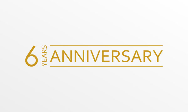 6 year anniversary emblem. Anniversary icon or label. 6 year celebration and congratulation design element. Vector illustration.