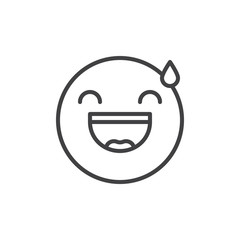 Smiling face emoticon with open mouth and cold sweat line icon