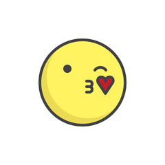 Blowing kiss face emoticon filled outline icon