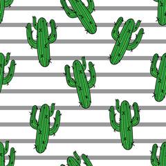 Cactus seamless pattern. Modern fashion striped background