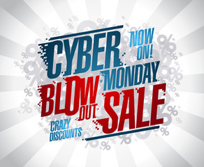 Cyber monday blow out sale vector poster