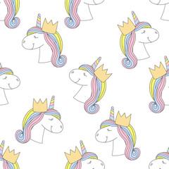 Fashion seamless print. Pattern with unicorn.