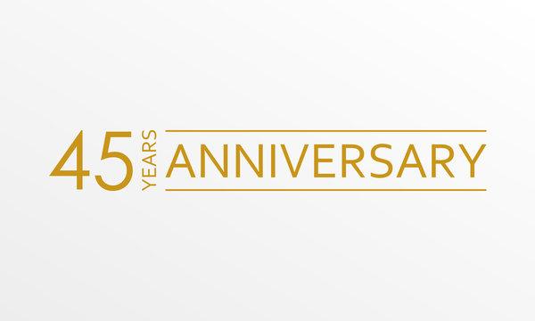 45 years anniversary icon. Anniversary decoration template. Vector illustration.