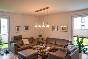 Modernes Wohnzimmer mit brauner Couch und Designerlicht