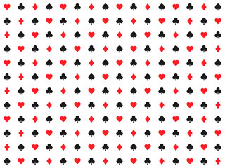 Playing card signs seamless pattern, casino background, hearts, clubs, diamonds and spades, vector icons and symbols