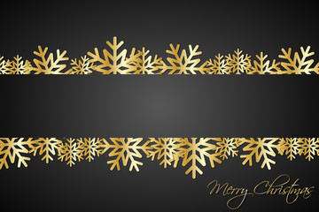 Golded christmas snowflakes background with space for your wishes, simple holiday card with snowflakes