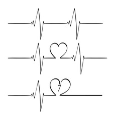 3 lines of heart beats, normal, love, and heart broken.