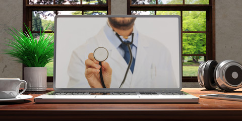 Laptop with telemedicine doctor screen on wooden desk at home. Beautiful blurred nature background. 3d illustration