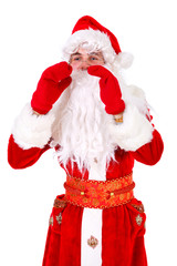 Santa Claus Close up Portrait shouting or calling Isolated on White Background. Xmas Concept
