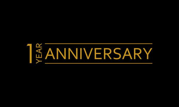 1 year anniversary icon. 1st birthday emblem. Anniversary design element. Vector illustration.