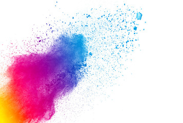 Launched colorful powder isolated on white background
