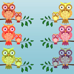Canvas Prints Owls cartoon Set of multi-colored pairs of owls mom and baby sitting on the branches